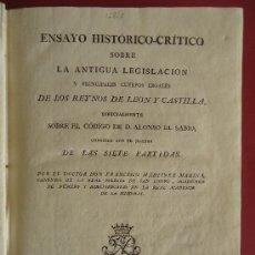 Libros antiguos: IBARRA.'ENSAYO HISTORICO-CRITICO SOBRE LA ANTIGUA LEGISLACION' F.MARTINEZ MARINA 1808 . Lote 36338950