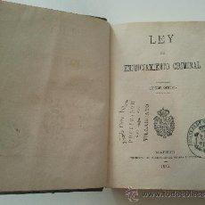 Libros antiguos: LEY DE ENJUICIAMIENTO CRIMINAL. Lote 36818649