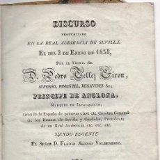 Libros antiguos: SEVILLA,1835 DISCURSO DEL PRINCIPE DE ANGLONA EN LA REAL AUDIENCIA,. Lote 37590171