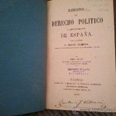 Libros antiguos: ELEMENTOS DEL DERECHO POLITICO. Lote 37682535