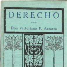 Libros antiguos: DERECHO. VICTORIANO F. ASCARZA. EDITORIAL MAGISTERIO ESPAÑA. MADRID. 1932. Lote 39295727