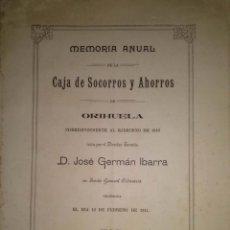 Libros antiguos: MEMORIA DEL AÑO 1910 DE LA CAJA DE SOCORROS Y AHORROS DE ORIHUELA ALICANTE. Lote 39359721