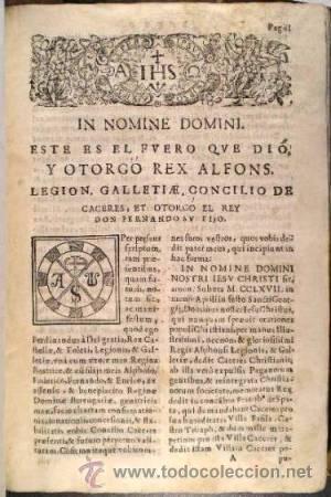 FUERO DE CACERES. C.1657 (Libros Antiguos, Raros y Curiosos - Ciencias, Manuales y Oficios - Derecho, Economía y Comercio)