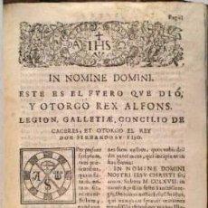 Libros antiguos: FUERO DE CACERES. C.1657. Lote 39480515