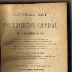 Libros antiguos: NOVÍSIMA LEY DE ENJUICIAMIENTO CRIMINAL - 1882 - FERMIN ABELLA BLAVE - . Lote 39792469