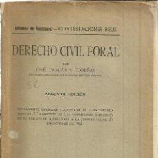 Libros antiguos: DERECHO CIVIL FORAL. JOSÉ CASTÁN Y TOBEÑAS. 2ª EDICIÓN. EDITORIAL REUS. MADRID. 1932. Lote 39855045