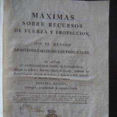 Libros antiguos: 'MAXIMAS SOBRE RECURSOS DE FUERZA Y PROTECCION' JOSEPH DE COVARRUBIAS. 3ª EDICION. VDA. IBARRA 1788. Lote 40201106
