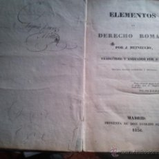Libros antiguos: ELEMENTOS DE DERECHO ROMANO 1836. Lote 40318193