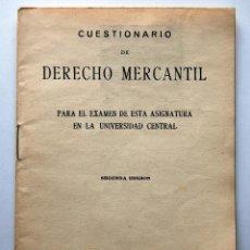 Libros antiguos: PROGRAMA DE DERECHO MERCANTIL. AÑO 1933. Lote 42194900