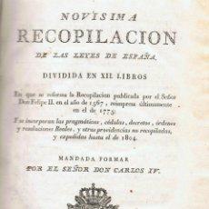 Libros antiguos: NOVÍSIMA RECOPILACIÓN DE LAS LEYES DE ESPAÑA - MADRID 1805. Lote 42426661