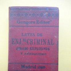 Libros antiguos: LEY DE ENJUICIAMIENTO CRIMINAL. 1899. Lote 42753925