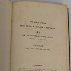Libros antiguos: LEY DE ENJUICIAMIENTO CIVIL COMENTADA Y APLICADA. APÉNDICE, 1869. Lote 45353657