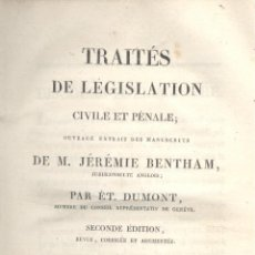 Libros antiguos: JEREMIE BENTHAM ET ÉT. DUMONT. TRAITÉS DE LÉGISLATION CIVILE ET PÉNALE. 3 VOLS. PARÍS, 1820. DERECHO. Lote 45496343