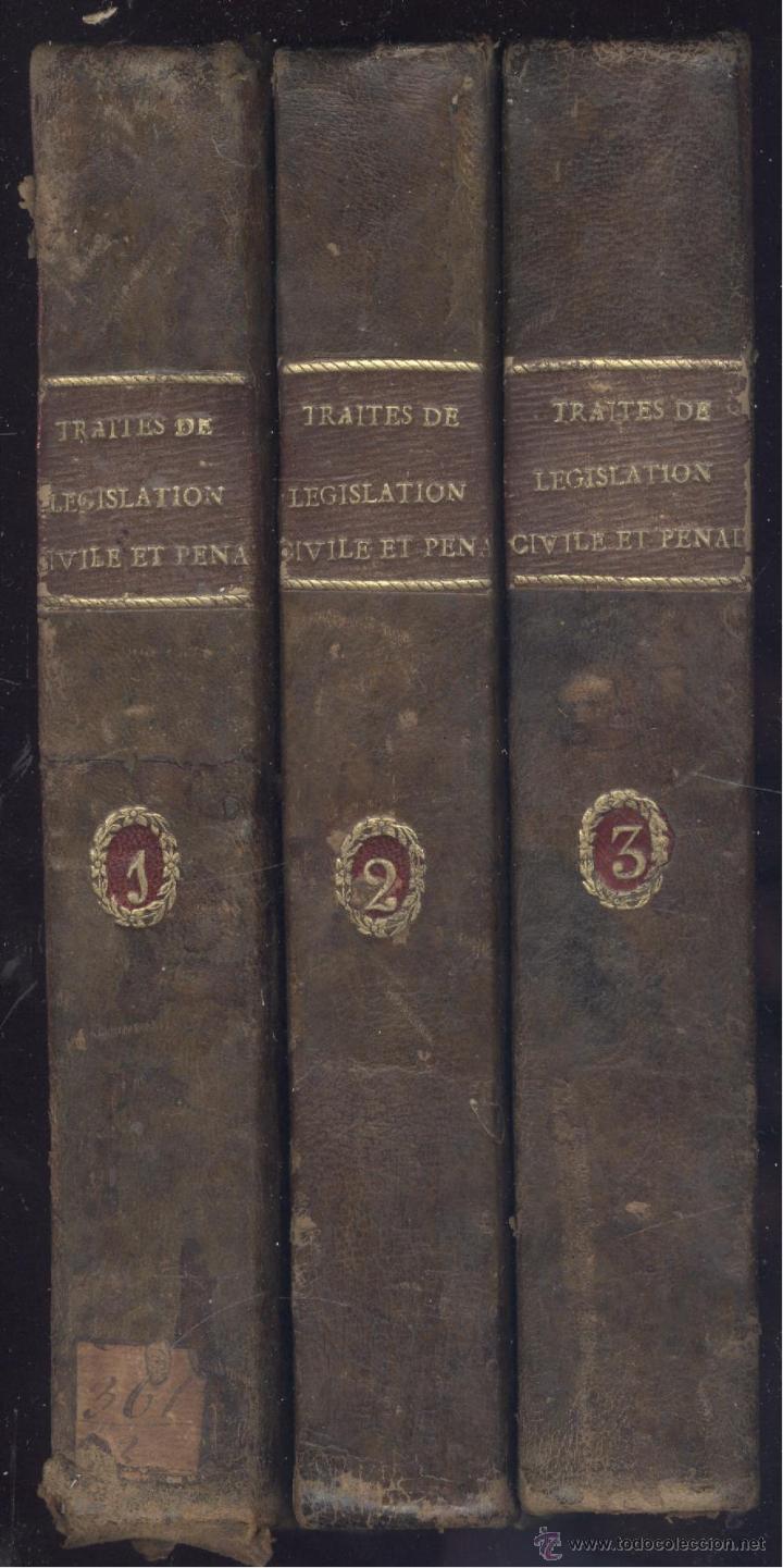 Libros antiguos: Jeremie BENTHAM et Ét. Dumont. Traités de législation civile et pénale. 3 vols. París, 1820. Derecho - Foto 2 - 45496343