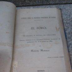 Libros antiguos: EL FORO SUS ORIGENES SU HISTORIA SUS CONDICIONES - MANUEL MURGUIA - MADRID 1882 1ª EDI BAILLY. Lote 46409811