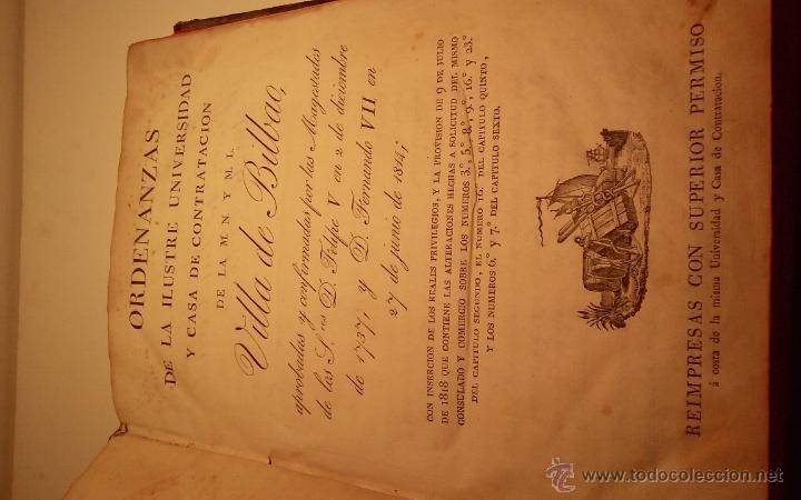 Libros antiguos: Libro Ordenanzas de la ilustre universidad y casa de contratacion de la Villa de Bilbao. Año 1819 - Foto 10 - 46450893