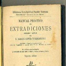 Libros antiguos: GARCIA SANTISTEBAN : MANUAL PRÁCTICO DE EXTRADICIONES (GREGORIO ESTRADA, C. 1880) . Lote 49787249