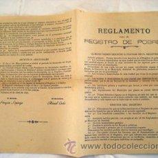 Libros antiguos: REGLAMENTO PARA EL REGISTRO DE POBRES. VALENCIA 1896. SANTONJA JOAQUÍN (ALCALDE). Lote 50261025