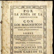 Libros antiguos: [CONSULADO DE MAR DE MALLORCA. S.XVIII] POR LA JUNTA DE LA CONSIGNACIÓN. 1767.. Lote 50408867