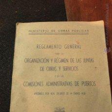 Libros antiguos: MINISTERIO DE OBRAS PUBLICAS, REGLAMENTO GENERAL DE OBRAS Y SERVICIOS,COMISIONES PUERTOS.1928 -. Lote 50747357