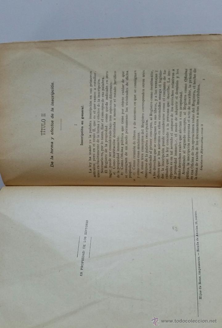Libros antiguos: COMENTARIOS A LA LEGISLACIÓN HIPOTECARIA. por J. MORELL y TERRY. TOMO II. ARTÍCULOS 6º a 41º. 1917 - Foto 4 - 50968564