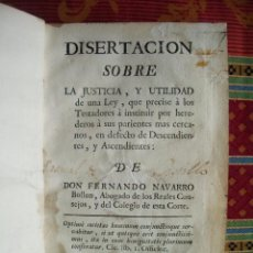 Libros antiguos: 1767-DISERTACION SOBRE LA JUSTICIA.FERNANDO NAVARRO BULLON.DERECHO.ABOGADOS.ORIGINAL. Lote 51208860