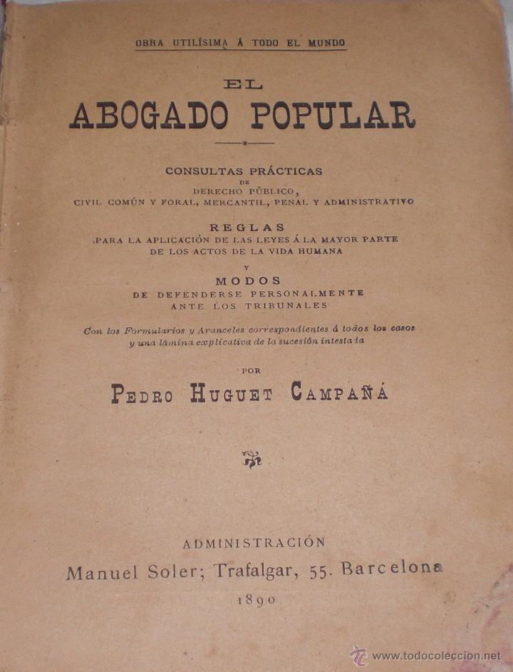 Libros antiguos: El abogado popular 1890 - Foto 2 - 51222095