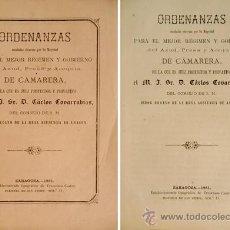 Libros antiguos: ORDENANZAS MANDADAS OBSERVAR POR S.M. PARA EL MEJOR GOBIERNO DEL AZUD Y ACEQUIA DE CAMARERA. 1881.. Lote 51399338