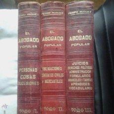 Libros antiguos: EL ABOGADO POPULAR - DERECHO - PEDRO HUGUET - 3 TOMOS - M. SOLER BARCELONA - 1898. Lote 51528630