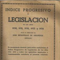 Libros antiguos: ÍNDICE DE LEGISLACIÓN DE LOS AÑOS 1930,1931,1932,1933 Y 1934. ESTANISLAO DE ARANZADI. PAMPLONA.. Lote 51682289