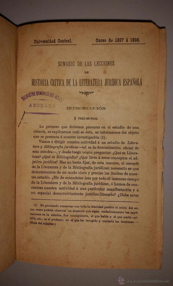 SUMARIO DE LAS LECCIONES DE HISTORIA CRITICA DE LA LITERATURA JURIDICA ESPAÑOLA - 1898 (Libros Antiguos, Raros y Curiosos - Ciencias, Manuales y Oficios - Derecho, Economía y Comercio)