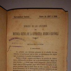 Libros antiguos: SUMARIO DE LAS LECCIONES DE HISTORIA CRITICA DE LA LITERATURA JURIDICA ESPAÑOLA - 1898. Lote 51983067