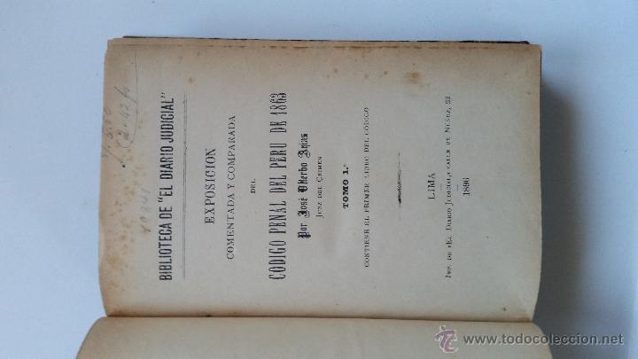Libros antiguos: Exposición comentada y comparada del código penal del Peru de 1863 - José Viterbo Arias - Foto 2 - 52605945