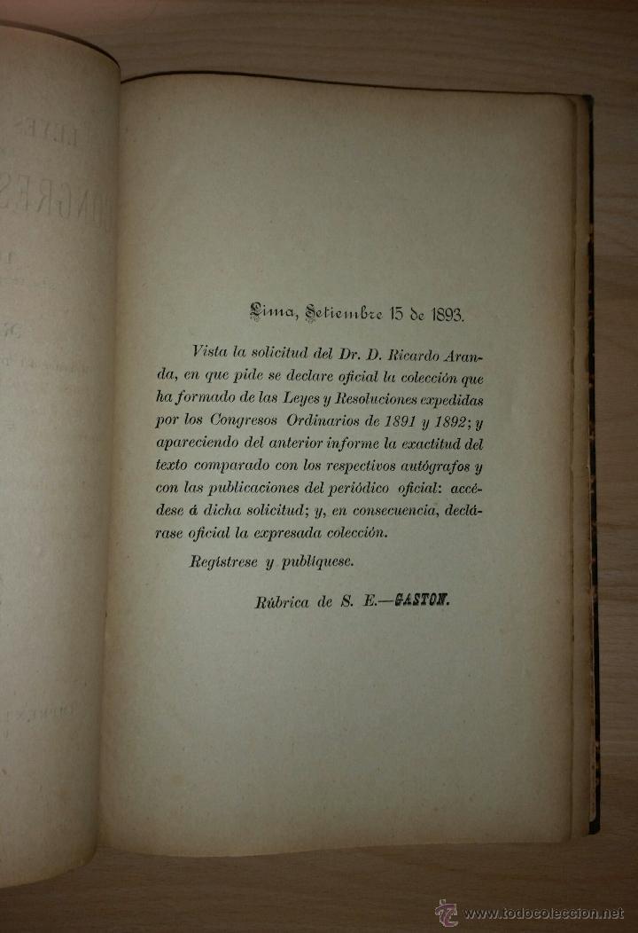 Libros antiguos: leyes y resoluciones expedidas por los congresos ordinarios de 1891 y 1892 - RICARDO ARANDA - Foto 3 - 52718540