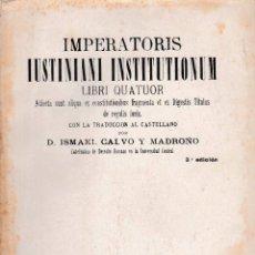 Libros antiguos: INSTITUCIONES DE JUSTINIANO (IMPERATORIS IUSTINIANI INSTITUTIONUM) 1915, SIN USAR. Lote 177494877