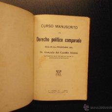 Libros antiguos: CURSO MANUSCRITO DE DERECHO POLITICO COMPARADO, GONZALO DEL CASTILLO ALONSO. Lote 52964023