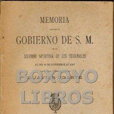 Libros antiguos: MEMORIA ELEVADA AL GOBIERNO DE S. M. EN 16 DE SEPTIEMBRE DE 1907 POR EL FISCAL DEL TRIBUNAL SUPREMO. Lote 53134584