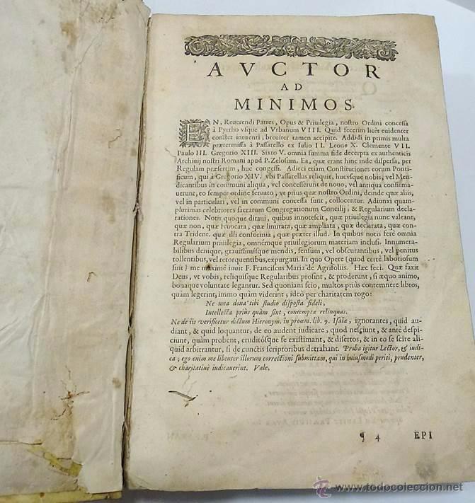 Libros antiguos: LEYES-R.P.LAURENTII DE PEYRINIS GENUENSIS-OPERA OMNIA ORDINIS MINIMORUM S.FRANCISCI DE PAULA 1.668 - Foto 5 - 53286408