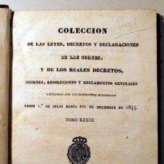 Libros antiguos: COLECCIÓN LEYES, DECRETOS Y DECLARACIONES CORTES Y REALES DECRETOS. TOMO XXXIII. - MADRID 1845. Lote 207191708