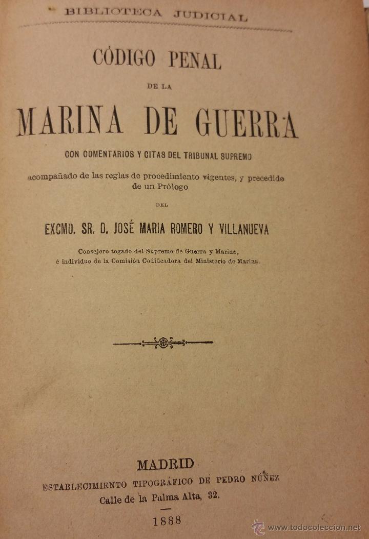 CÓDIGO PENAL DE LA MARINA DE GUERRA, MADRID 1888 (Libros Antiguos, Raros y Curiosos - Ciencias, Manuales y Oficios - Derecho, Economía y Comercio)
