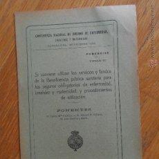 Libros antiguos: CONFERENCIA NACIONAL DE SEGUROS DE ENFERMEDAD, PONENCIAS, 1922. Lote 54302773