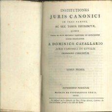 Libros antiguos - INSTITUTIONES JURIS CANONICI. A. Dominico Cavallario - 54336680