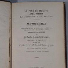 Libros antiguos: LA PENA DE MUERTE ANTE LA NECESIDAD, LA JUSTICIA Y LA MORAL 1882 BORSO DI CARMINATI. Lote 54362554