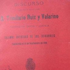 Libros antiguos: TRINITARIO RUIZ Y VALARINO.1910.62+16 PG DISCURSO APERTURA TRIBUNALES . Lote 54385477