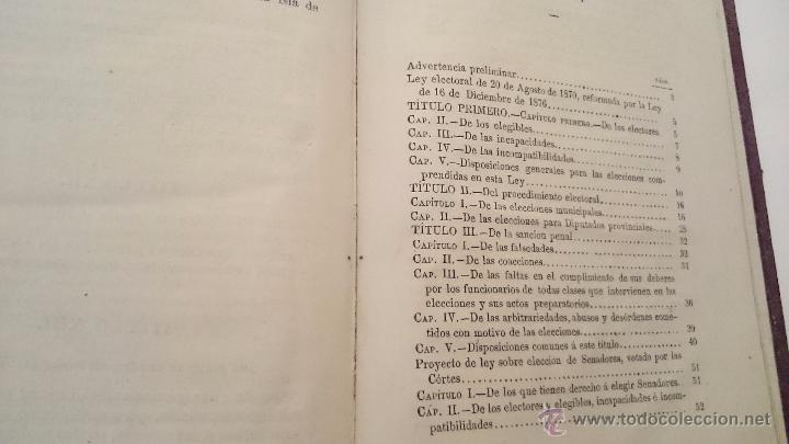 Libros antiguos: LEYES ELECTORAL MUNICIPAL Y PROVINCIAL DE 20 AGOSTO 1870 - ANDRÉS BLAS - MADRID 1876 - Foto 6 - 54592021