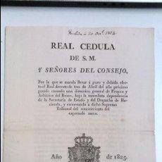 Libros antiguos: REAL CEDULA DE S.M. Y SEÑORES DEL CONSEJO. 1825 FERNANDO VII MADRID.( REIMPRESA EN MATARÓ). Lote 54604339