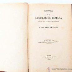 Libros antiguos: ANTEQUERA : HISTORIA DE LA LEGISLACIÓN ROMANA (1883). LOMO REFORZADO. EX-LIBRIS MARTINEZ ALCUBILLA . Lote 54723040