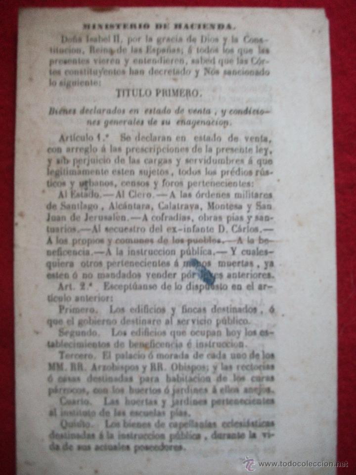MINISTERIO DE HACIENDA 30 ARTICULOS DE 1855 (Libros Antiguos, Raros y Curiosos - Ciencias, Manuales y Oficios - Derecho, Economía y Comercio)