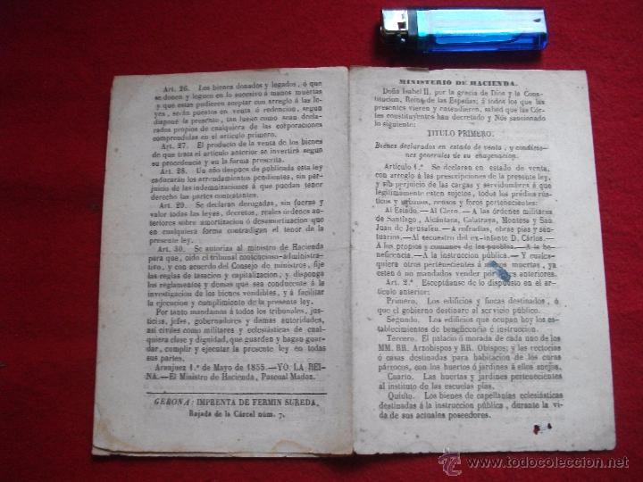 Libros antiguos: MINISTERIO DE HACIENDA 30 ARTICULOS DE 1855 - Foto 4 - 54908333
