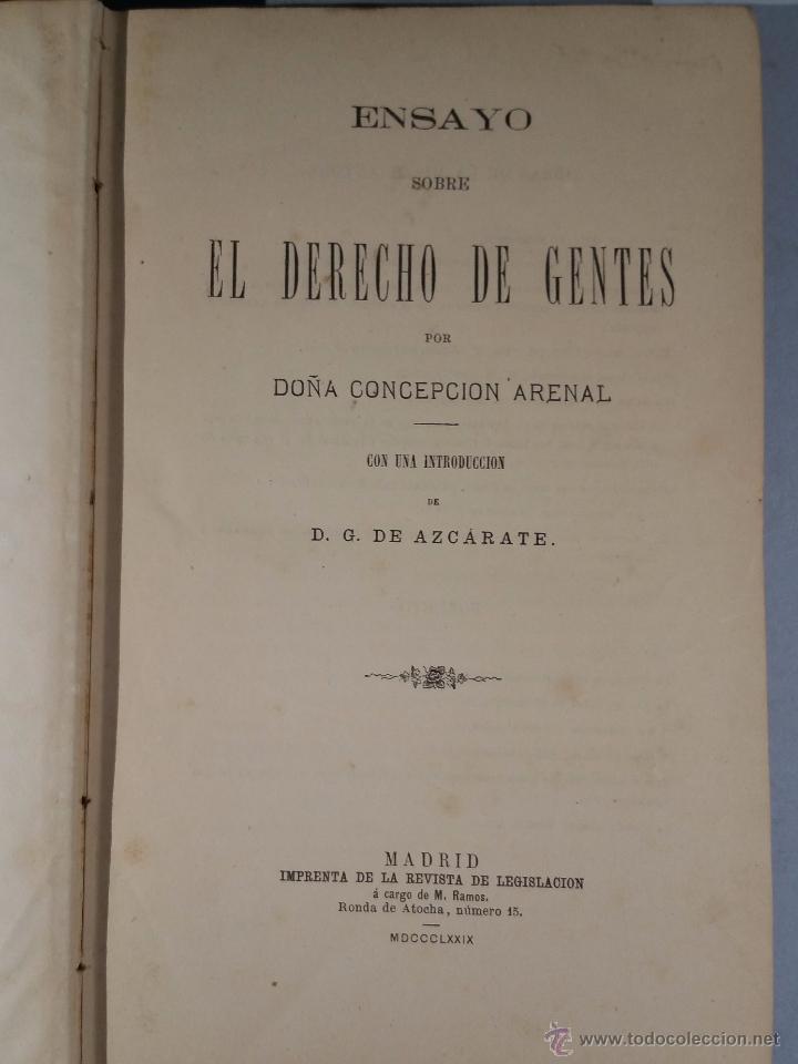 ENSAYO SOBRE EL DERECHO DE GENTES. ARENAL CONCEPCION 1879 (Libros Antiguos, Raros y Curiosos - Ciencias, Manuales y Oficios - Derecho, Economía y Comercio)
